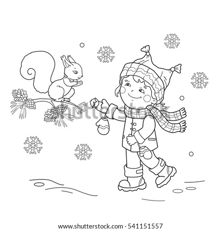 Coloring Page Outline Of Cartoon Girl Feeding A Squirrel Winter Book For Kids