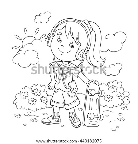 Coloring Page Outline Of Cartoon Girl In Headphones With Skateboard Book For Kids