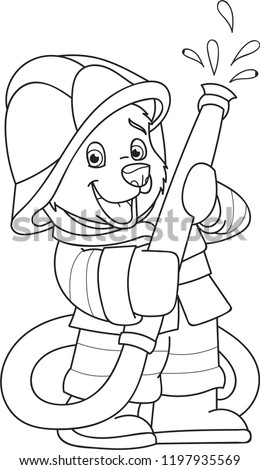 Coloring page outline of cartoon little bear in a fireman costume. Vector illustration, coloring book for kids.