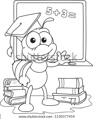 Coloring page outline of cartoon little bee at the school board. Vector illustration, school coloring book for kids.