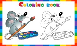 Coloring Page Outline Of cartoon mouse with brush and paints. Little artist. Coloring Book for kids.