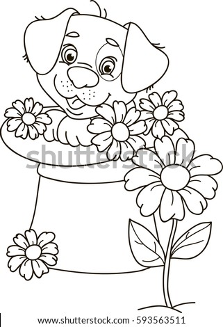 Coloring page outline of cartoon puppy dog sitting in a hat with flowers. Vector illustration, coloring book for kids.