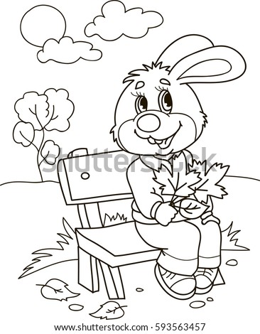 Coloring page outline of cartoon rabbit on a bench with leafs. Vector illustration, coloring book for kids.