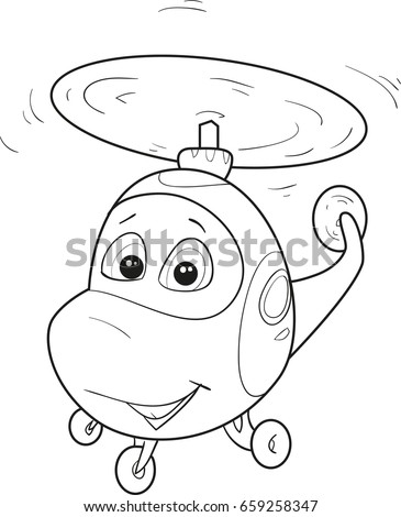Coloring page outline of cartoon smiling helicopter. Vector illustration, coloring book for kids.