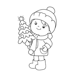 Coloring Page Outline Of girl with Christmas tree. Christmas. New year. Coloring book for kids