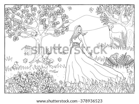 coloring page   princess in the