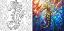 Coloring page. Seahorse and shoal of fishes. Ocean underwater background. Colorless and color samples for adult antistress coloring book cover.