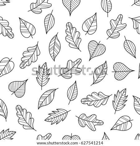 Coloring Page Seamless Pattern With Fall Black And White Contour Leaves For Book