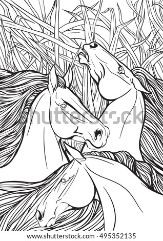 coloring page three horses