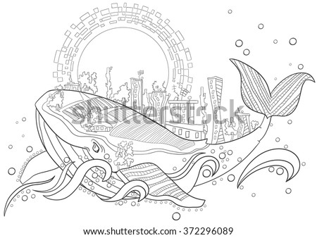 Coloring Page Vector Fantastic City Whale Monochrome Floral Pattern Hand Drawn Texture Decorative