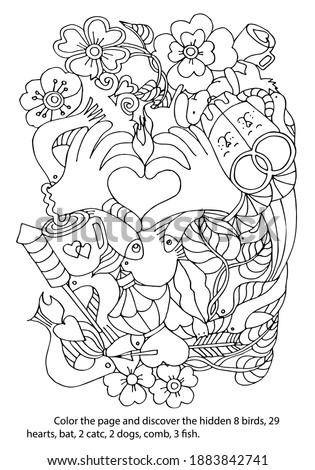 Coloring page with a game to find hidden objects. Symbols of love. Task with hearts, birds, cats, dogs, combs, flowers, leaves, cup, bottle, fireworks, arrow, hand love gestures. Hand drawn vector.