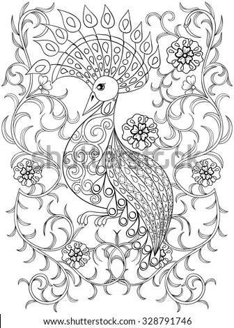 coloring page with bird in...