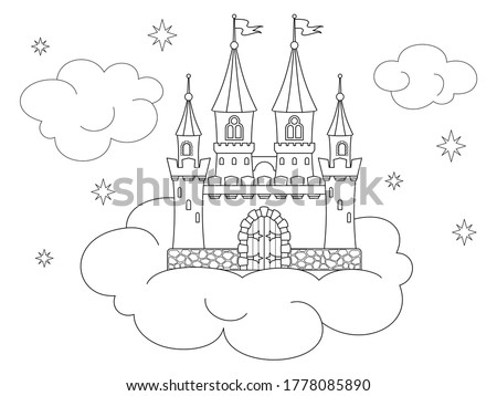 Coloring page with castle in the sky on the cloud, towers with flying flags on conical roofs. Black and white vector design template for kids coloring book, poster, print. Entertainment and recreation