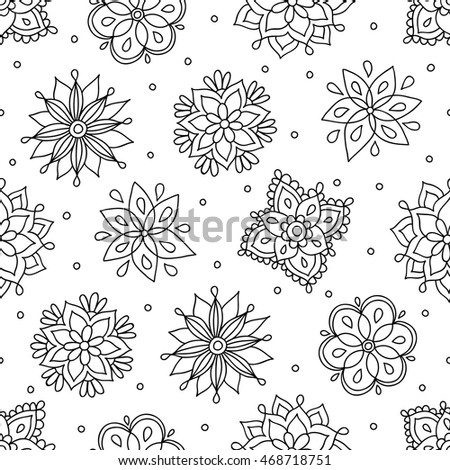 royalty free stock photos and images coloring page with contour drawn flowers vector seamless. Black Bedroom Furniture Sets. Home Design Ideas