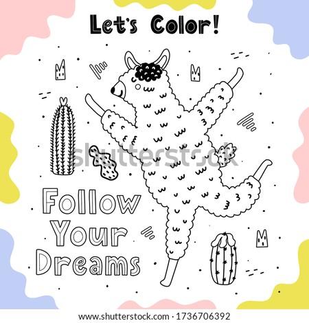 coloring page with happy llama