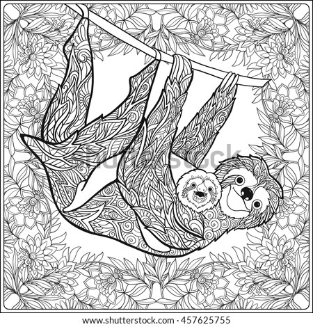 coloring page with lovely sloth
