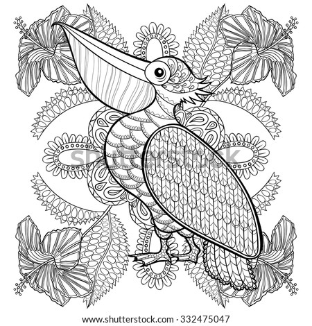 Coloring page with Pelican in hibiskus flowers, zentangle illustartion for adult Coloring books or tattoos with high details isolated on white background. Vector monochrome bird sketch.