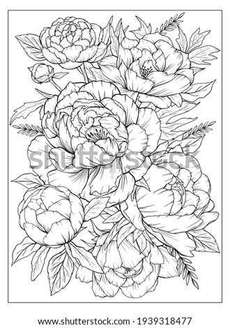 Coloring page with peonies and leaves. Vector page for coloring. Flower Colouring page. Floral print. Outline peonies. Black and white page for coloring book.