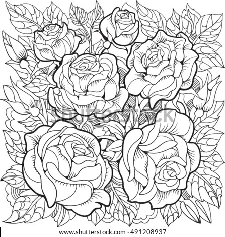 coloring page with roses and