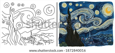 """Coloring page with """"The Starry Night"""" based on Vincent van Gogh's painting."""