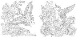 Coloring pages. Butterfly and hummingbird among flower bouquets. Line art design for adult or kids colouring book in zentangle style. Vector illustration.