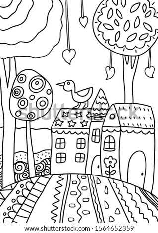 Coloring Pages. Coloring Book for adults and children. Colouring pictures with landscapes. Vector illustration.