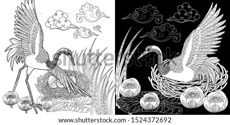 Coloring Pages. Coloring Book for adults and children. Colouring pictures with stork. Antistress freehand sketch drawing with doodle and zentangle element