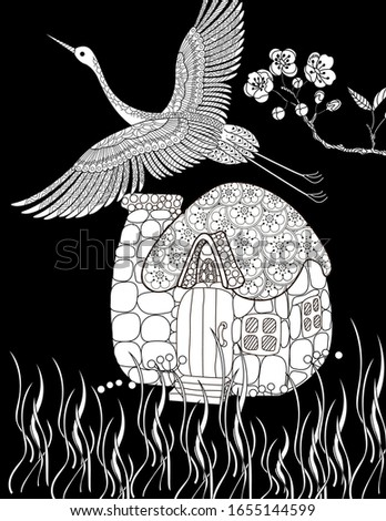 Coloring Pages. Coloring Book for adults and children. Colouring pictures with stork. Linear engraved art. Bird concept. Romantic concept. Vector design