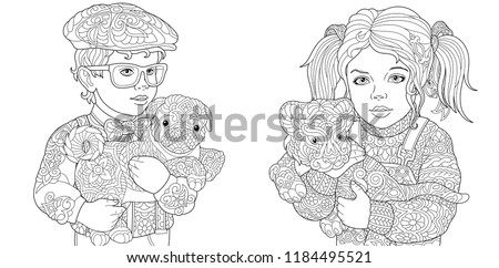 Coloring Pages. Coloring Book for adults. Colouring pictures with boy and girl holding baby animals. Antistress freehand sketch drawing with doodle and zentangle elements.