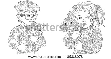 Coloring Pages. Coloring Book for adults. Colouring pictures with boy and girl holding cat and dog drawn in zentangle style. Vector illustration.