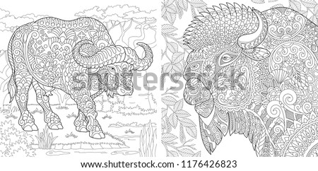 Coloring Pages. Coloring Book for adults. Colouring pictures with buffalo and bison. Antistress freehand sketch drawing with doodle and zentangle elements.