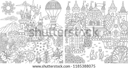 Coloring Pages. Coloring Book for adults. Colouring pictures with fantasy castles and houses drawn in zentangle style. Vector illustration.