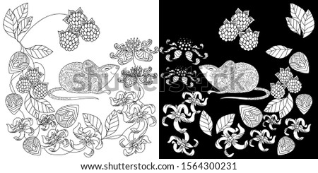 Coloring Pages. Coloring Book for adults. Colouring pictures with mouse. Antistress freehand sketch drawing with doodle and zentangle elements.