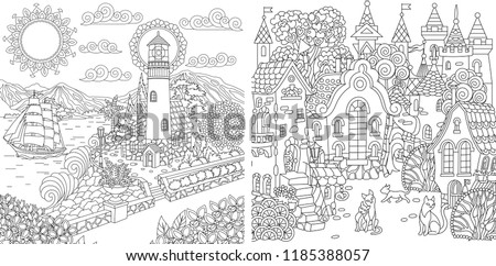 Coloring Pages. Coloring Book for adults. Colouring pictures with sea and city landscapes drawn in zentangle style. Vector illustration.
