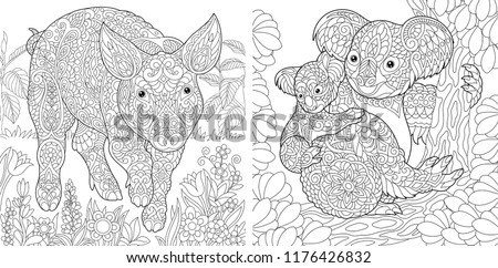 Coloring Pages. Coloring Book for adults. Cute Pig - 2019 Chinese New Year symbol. Colouring picture with koala bears. Antistress freehand sketch drawing with doodle and zentangle elements.