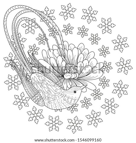 Coloring Pages. Coloring Book for children and adults. Colouring pictures with Snowflake Wreath and bird. Antistress freehand sketch drawing with doodle and zentangle elements.