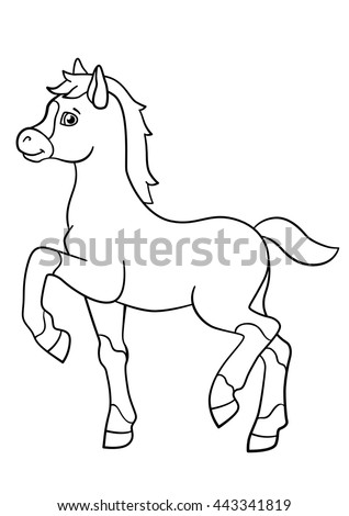 coloring pages farm animals little cute foal walks and smiles stock vector 443341819. Black Bedroom Furniture Sets. Home Design Ideas