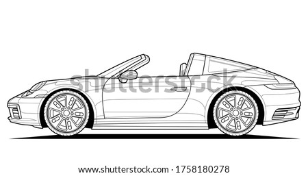 Coloring pages for adults drawing. Line art picture. Car cabriolet with outlines. Vector illustration vehicle. Graphic. Wheel and tires. Black contour sketch illustrate Isolated on white background.