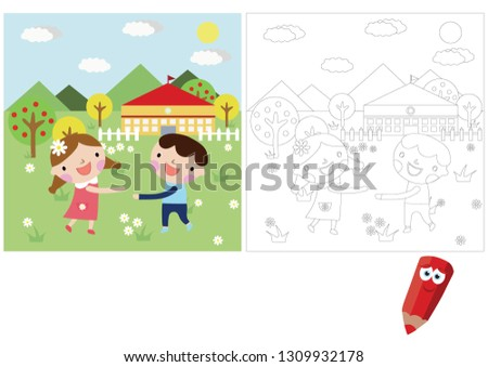 Coloring pages for children. Children's puzzles. Educational game for children. children playing around the house