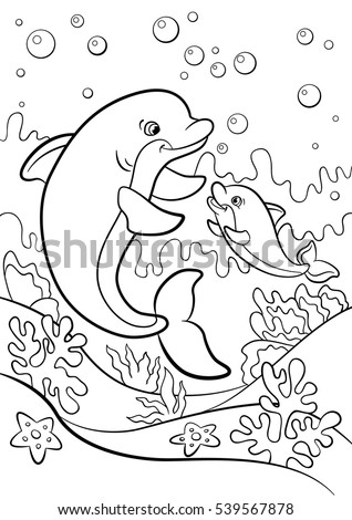 Coloring pages. Marine wild animals. Mother dolphin swims with her little cute baby dolphin underwater.