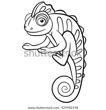 coloring pages wild animals little cute chameleon smiles stock vector illustration 429982198. Black Bedroom Furniture Sets. Home Design Ideas