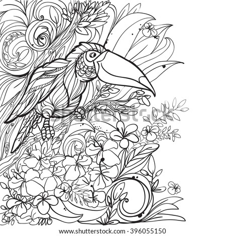 Coloring Pages With Tropical Birds Flowers And Leaves