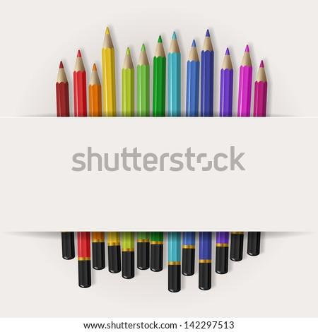 Coloring pencils with copy space, eps10 vector