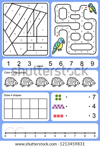 coloring, tracking, matching and drawing object of number - Worksheet for education