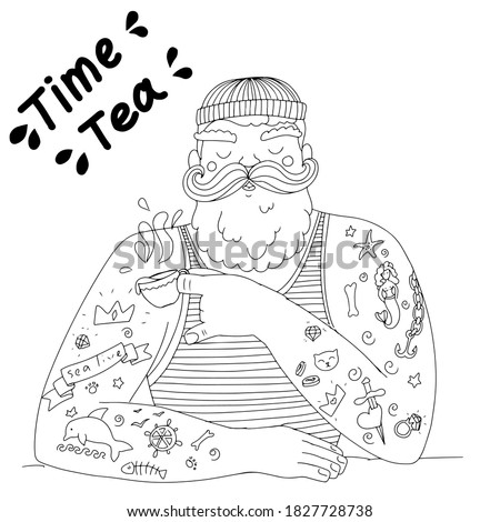 coloring with a cute brutal sailor. a sailor in tattoos drinks tea. tea time funny illustration. a man with a beard and mustache in a vest.