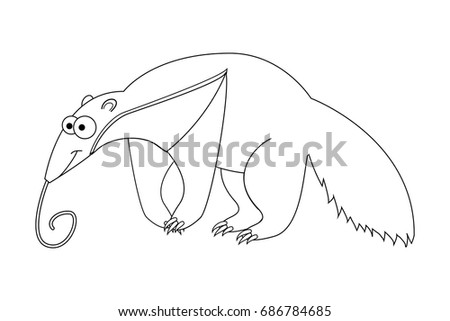 Colorless Funny Cartoon Anteater Vector Illustration Coloring Page Preschool Education Exotic Animal