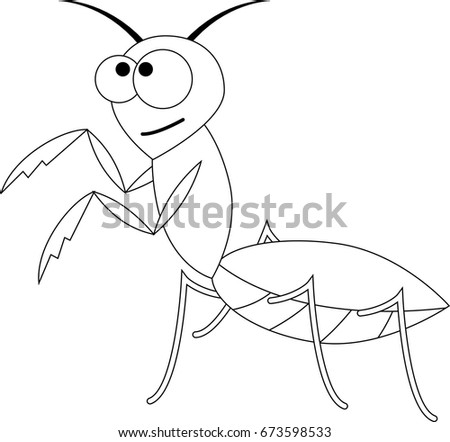 Colorless funny cartoon mantis. Vector illustration. Coloring page. Preschool education.