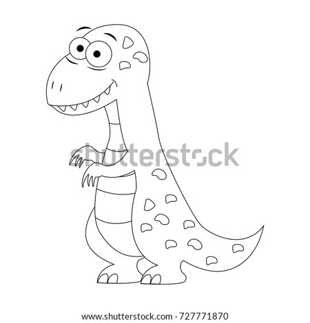 Colorless Funny Cartoon T Rex Vector Illustration Coloring Page Preschool Education Dinosaur Pattern