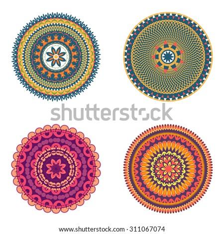 Colors art round ornament. Vector mandala