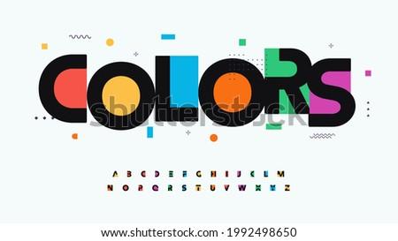 Colors font alphabet letters. Modern logo typography. Color creative art typographic design. Festive letter set for rainbow logo, headline, color cover title, joy monogram. Isolated vector typeset